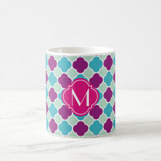 Purple Mint and Turquoise Quatrefoil Pattern Classic White Coffee Mug