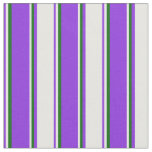 [ Thumbnail: Purple, Mint Cream, and Dark Green Colored Lines Fabric ]