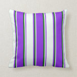 [ Thumbnail: Purple, Mint Cream, and Dark Green Colored Lines Throw Pillow ]