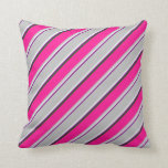 [ Thumbnail: Purple, Mint Cream, Grey, Deep Pink & Dark Green Throw Pillow ]
