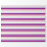 [ Thumbnail: Purple, Mint Cream & Pink Striped Pattern Wrapping Paper ]