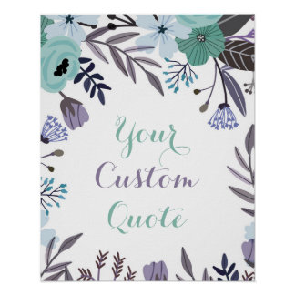 Purple mint floral Personalized quote art print