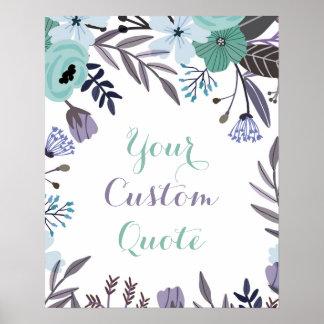 Purple mint floral Personalized quote art print