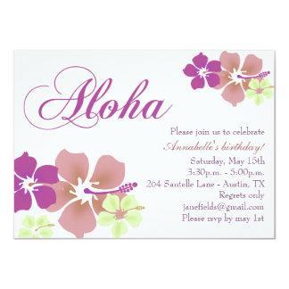 Purple & Mint Flower Aloha Birthday Invitation
