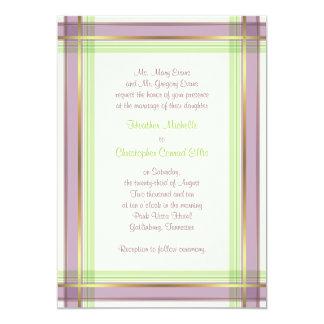 Purple Mint Green Plaid Wedding Invitation