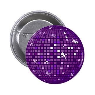 PURPLE MIRROR DISCO BALL 2 INCH ROUND BUTTON