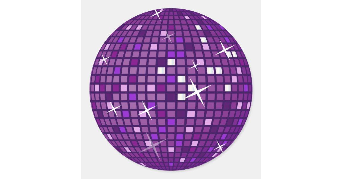 purple mirror disco ball classic round sticker zazzlecom