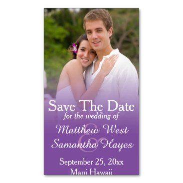 Beach Themed Purple Mist Photo Wedding Save The Date Business Card Magnet