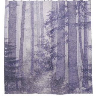 purple misty forest shower curtain