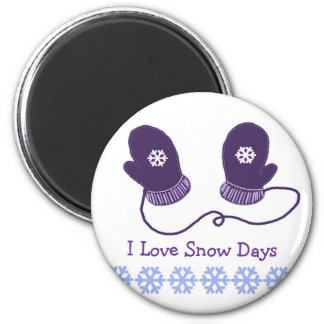 Purple Mittens with Snow Saying Fridge Magnets