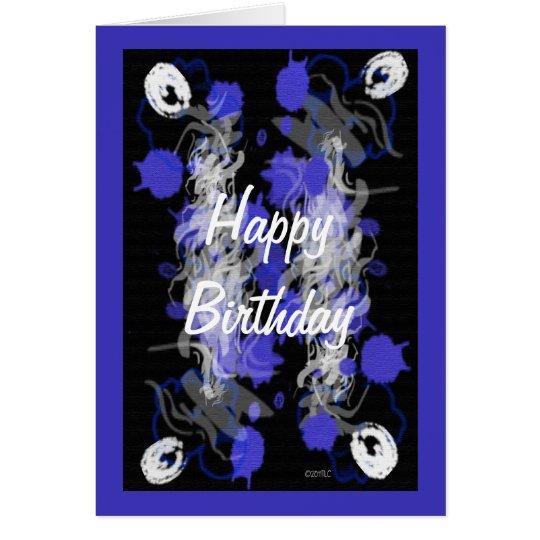 Purple Mix Abstract Happy Birthday Card
