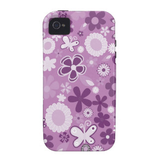 Purple Mixed Flowers Vibe iPhone 4 Case