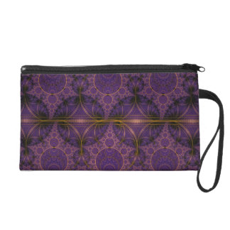 Purple Mobius Dragon Fractal Art Wristlet Purse