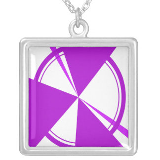 purple mod abstract square pendant necklace