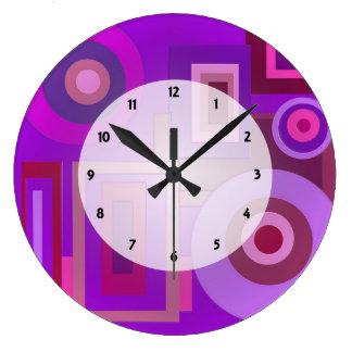 Purple Mod Squares Circles Abstract Wallclocks