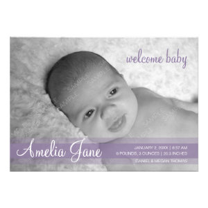 Purple Modern Baby Announcement