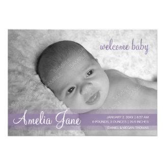 Purple Modern Baby Announcement