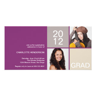 Purple modern block class of grad announcement