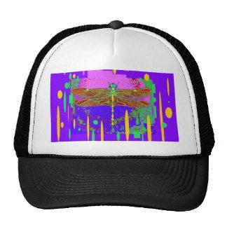 Purple Modern Dragonfly Design by Sharles Hat