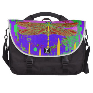 Purple Modern Dragonfly Design by Sharles Laptop Commuter Bag