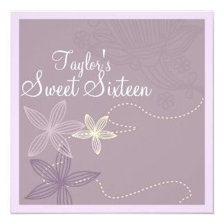 Purple Modern Floral Sweet16 Birthday Invite