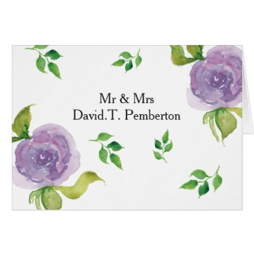 Purple Modern floral Wedding Place Cards