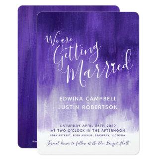 Purple modern graded art wedding invites
