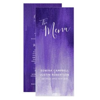 Purple modern graded art wedding menu card