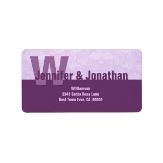 Purple Modern Simple Monogram Address Label