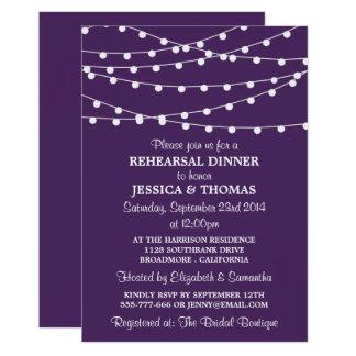 Purple Modern String Lights Rehearsal Dinner Invitation