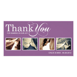 PURPLE MODERN THANKS WEDDING THANK YOU CARD PICTURE CARD