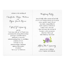 Purple Modern watercolor floral wedding program