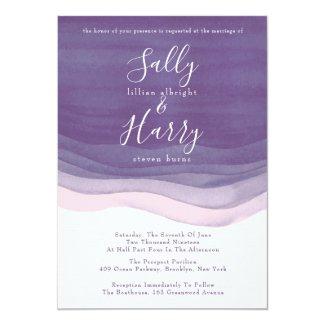 Purple, Modern Watercolor Waves Wedding Card