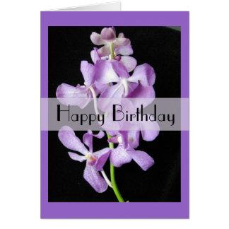 Purple Mokara Orchid Birthday Greeting Card
