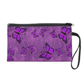 Purple Monarch Butterflies Wristlette Bag Wristlets