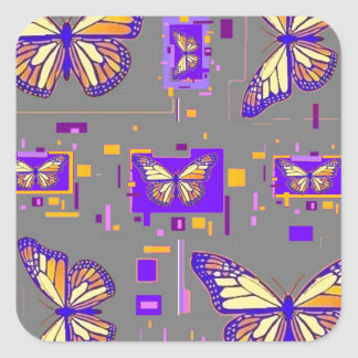 Purple Monarch Parade,Grey By Sharles Square Sticker