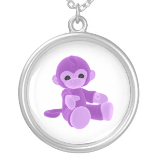 Purple Monkey Silver Plated Necklace
