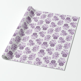 Purple Monochrome Floral Wrapping Paper