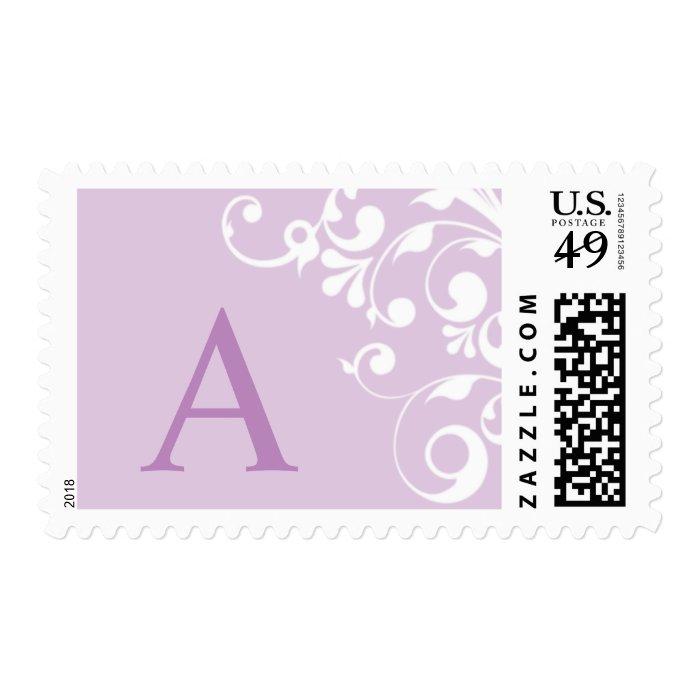 Purple Monogram A Wedding Postage Stamp
