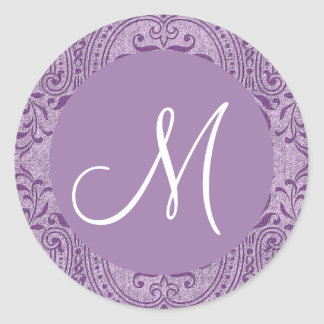 PURPLE Monogram any Initial Damask Wedding V11 Classic Round Sticker