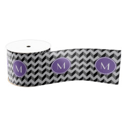 Purple Monogram Black and Gray Chevron Pattern Grosgrain Ribbon