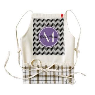 Purple Monogram Black and Gray Chevron Pattern Zazzle HEART Apron