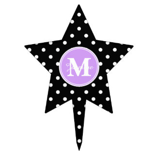 Purple Monogram Black White Polka Dots Cake Topper