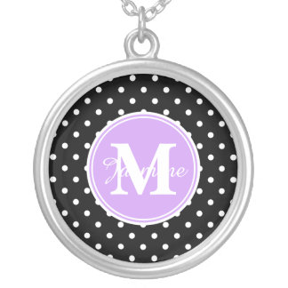 Purple Monogram Black White Polka Dots Silver Plated Necklace