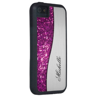 Purple Monogram Bling Case For iPhone SE/5/5s