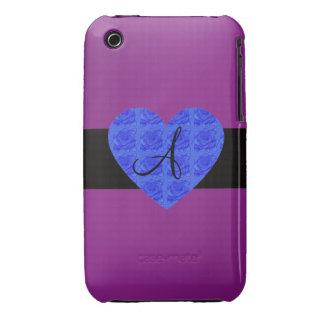 Purple monogram blue roses iPhone 3 Case-Mate cases