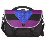 Purple monogram blue roses laptop bag