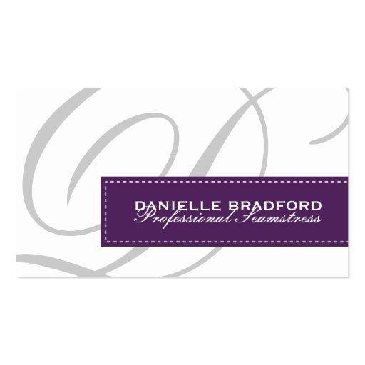 Purple Monogram Business Cards