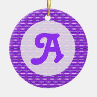 purple monogram ceramic ornament