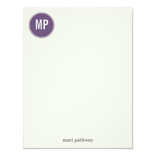 Purple Monogram Circle Design Flat Note Cards